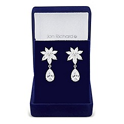 Jon Richard - Cubic zirconia botanical leaf drop earring
