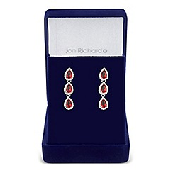 Jon Richard - Red cubic zirconia triple peardrop earring