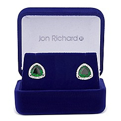 Jon Richard - Green cubic zirconia triangular surround stud earring