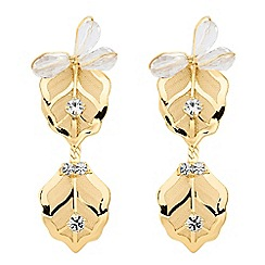 Jon Richard - Gold crystal mesh flower drop earring