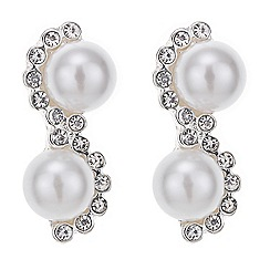 Jon Richard - Pearl and diamante zig zag earring