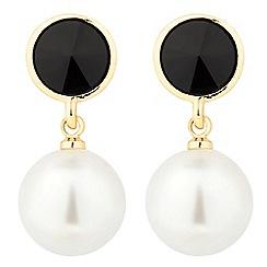 Jon Richard - Round jet disc and pearl drop earring