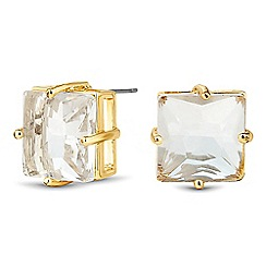Jon Richard - Square crystal gold stud earring