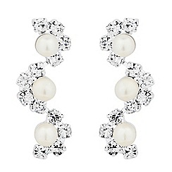 Jon Richard - Pearl and diamante crystal wave drop earring