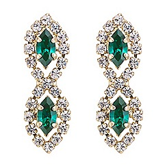 Jon Richard - Green stone and diamante tassel earring MADE WITH SWAROVSKI CRYSTALS