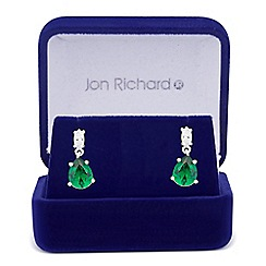 Jon Richard - Green cubic zirconia peardrop earring