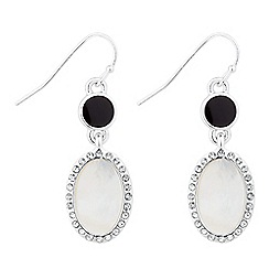 Jon Richard - Round jet and mother of pearl oval drop earring