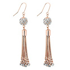 Jon Richard - Long rose gold ball and crystal drop earring