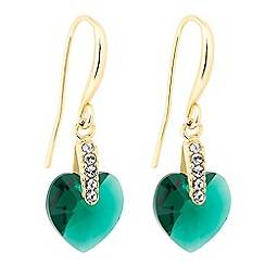 Jon Richard - Green heart drop earring MADE WITH SWAROVSKI CRYSTALS