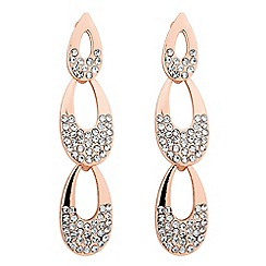 Jon Richard - Graduated rose gold crystal teardrop earring