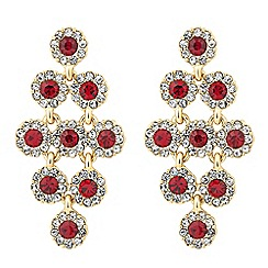Jon Richard - Round chandelier red drop earring