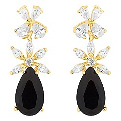Jon Richard - Black cubic zirconia leaf drop earring