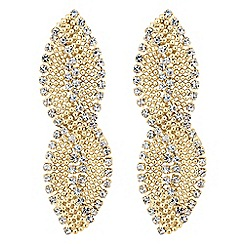 Jon Richard - Diamante crystal and gold ball swirl drop earring