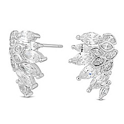 Jon Richard - Rose cubic zirconia climber earrings