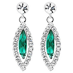 Jon Richard - Green navette diamante crystal earring