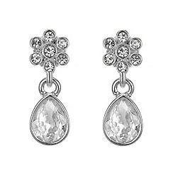 Jon Richard - Silver crystal flower drop earring