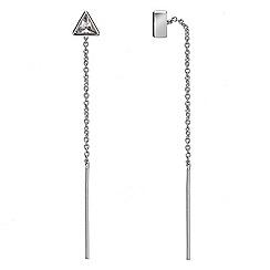 Jon Richard - Silver cubic zirconia fine chain thread through earring