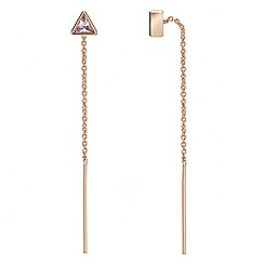 Jon Richard - Gold cubic zirconia fine chain thread through earring