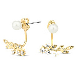 Jon Richard - Gold leaf pearl drop through earring
