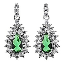 Jon Richard - Green cubic zirconia teardrop earring
