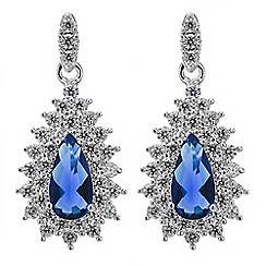 Jon Richard - Blue cubic zirconia teardrop earring