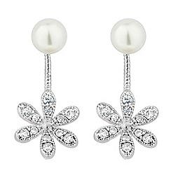 Jon Richard - Cubic zirconia flower pearl drop lobe earring