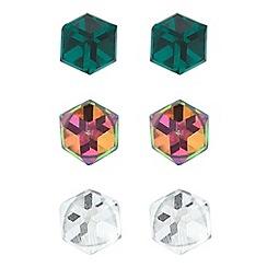 Jon Richard - Multi coloured crystal cube trio earring pack
