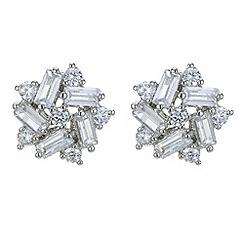 Jon Richard - Cubic zirconia silver flower stud earring