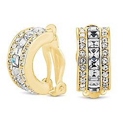 Jon Richard - Square crystal half hoop clip on earring