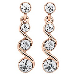 Jon Richard - Rose gold crystal swirl drop earring