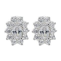 Jon Richard - Silver cubic zirconia flower earring