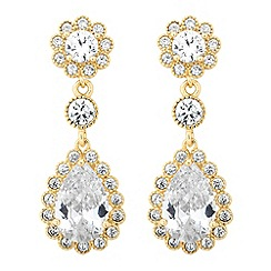 Jon Richard - Rose gold crystal pave flower drop earring