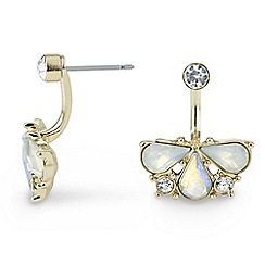 Jon Richard - Crystal and pearl cluster front and back earring
