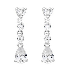 Jon Richard - Heart and pearcut crystal drop earring