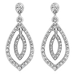 Jon Richard - Silver crystal double peardrop drop earring