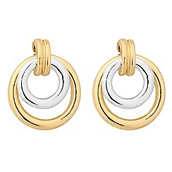 Jon Richard - Two tone double circle drop earring