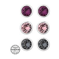 Jon Richard - Set of three pink stud earrings MADE WITH SWAROVSKI CRYSTALS