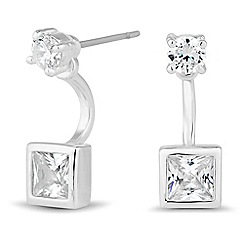 Jon Richard - Silver cubic zirconia square front and back earring