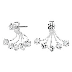 Jon Richard - Silver crystal spray front and back earring