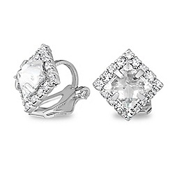 Jon Richard - Silver crystal pyramid clip on earring