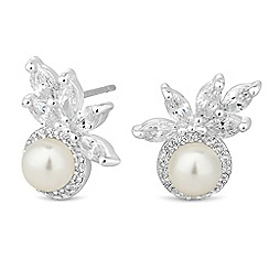 Jon Richard - Silver pearl and leaf cluster earring