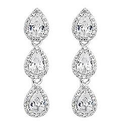 Alan Hannah Devoted - Designer silver cubic zirconia triple peardrop earring
