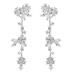 Alan Hannah Devoted - Designer silver cubic zirconia floral cluster drop earring