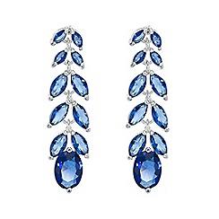 Jon Richard - Blue cubic zirconia leaf drop earring