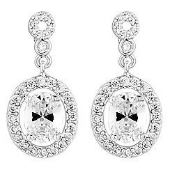 Jon Richard - Silver oval cubic zirconia drop earring