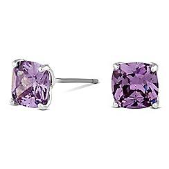 Jon Richard - Purple cubic zirconia square stud earrings