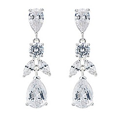 Jon Richard - Silver cubic zirconia mixed shape drop earring