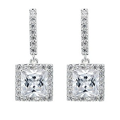 Jon Richard - Silver square cubic zirconia drop earring