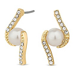 Alan Hannah Devoted - Designer gold pearl crystal swirl earring