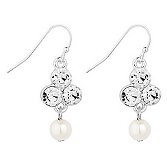 Jon Richard - Silver pearl and bubble crystal drop earring